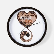 Bengal Cat Love Wall Clock