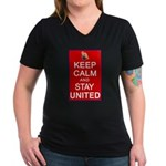 Keep Calm and Stay United Women's V-Neck Dark T-Sh