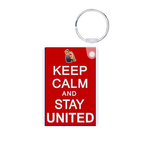 Keep Calm and Stay United Aluminum Photo Keychain