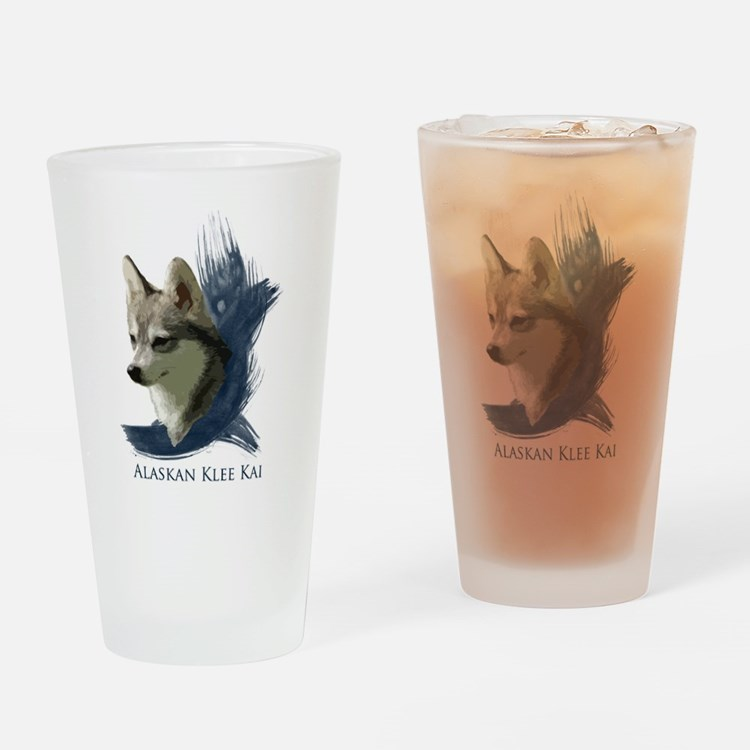 Cute Alaskan klee kai Drinking Glass