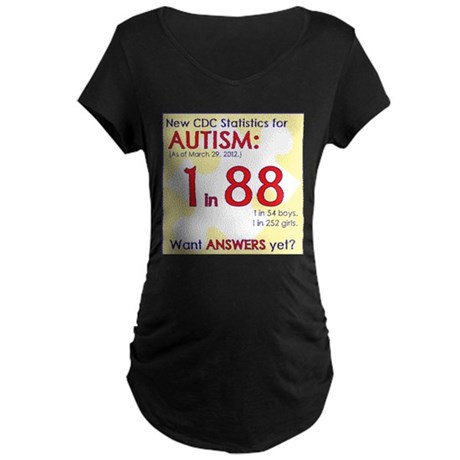 1 in 88 Want Answers v2 Maternity Dark T-Shirt