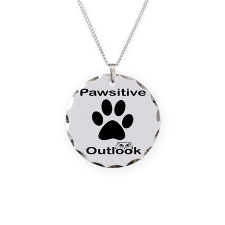 Pawsitive Outlook -- Cat Necklace Circle Charm