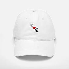 Peace Love & Paws Baseball Baseball Cap