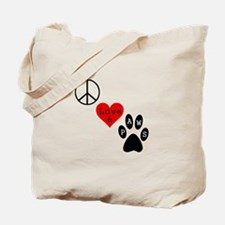 Peace Love & Paws Tote Bag