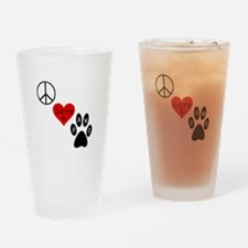 Peace Love & Paws Drinking Glass