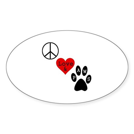 Peace Love & Paws Sticker (Oval)