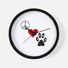 Peace Love & Paws Wall Clock