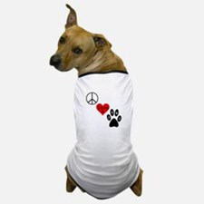 Peace Love & Paws Dog T-Shirt