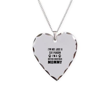 British Short-hair Cat Design Necklace Heart Charm