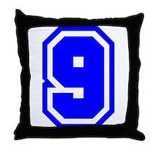 Varsity Uniform Number 9 (Blue) Throw Pillow