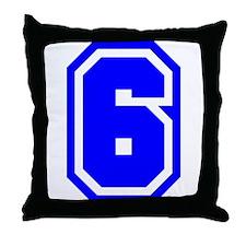 Varsity Uniform Number 6 (Blue) Throw Pillow