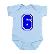 Varsity Uniform Number 6 (Blue) Infant Creeper