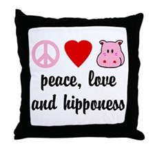 Peace Love and Hipponess Throw Pillow
