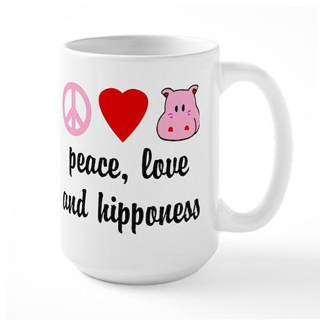 Peace Love and Hipponess Large Mug