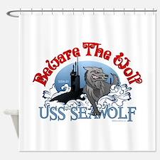 Beware The Wolf! USS Seawolf Shower Curtain