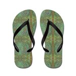 Gold and Green Flip Flops / Thongs
