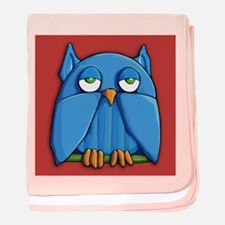 Aqua Owl red baby blanket