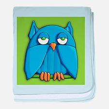 Aqua Owl green baby blanket