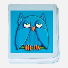 Aqua Owl aqua baby blanket