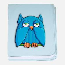 Aqua Owl baby blanket