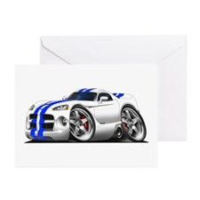 Viper GTS White-Blue Car Greeting Cards (Pk of 10)