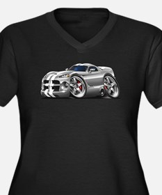 Viper GTS Grey-White Car Women's Plus Size V-Neck