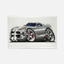 Viper GTS Grey-White Car Rectangle Magnet