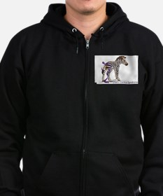 Zebra with Ribbon on Tail Zip Hoodie