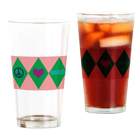 Hockey Argyle Drinking Glass
