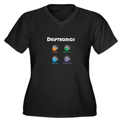 Delptronics Women's Plus Size V-Neck Dark T-Shirt