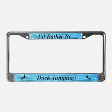 Black Dock Jumping Dog License Plate Frame
