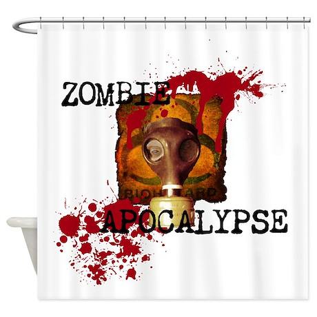 Zombie apocalypse biohazard shower curtain by zombieguns187 for Zombie bathroom decor