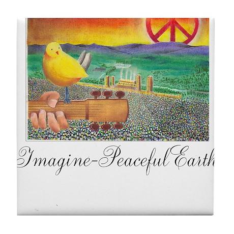 Imagine Peaceful Planet Tile Coaster