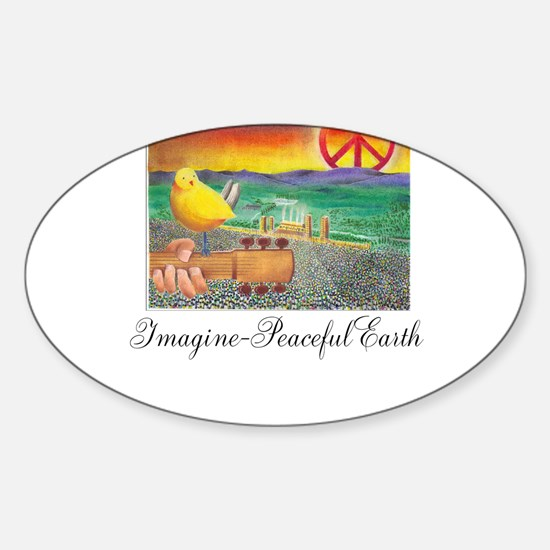 Imagine Peaceful Planet Sticker (Oval)