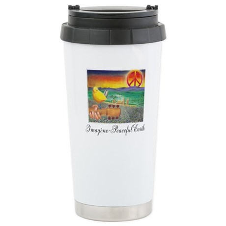 Imagine Peaceful Planet Stainless Steel Travel Mug