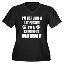 Chartreux Cat Design Women's Plus Size V-Neck Dark