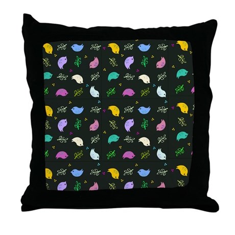 Bird Pattern Throw Pillows : Colorful Bird Pattern Throw Pillow by InspirationzStore