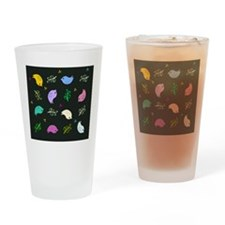 Colorful Bird Pattern Drinking Glass
