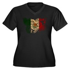 Mexico Flag Women's Plus Size V-Neck Dark T-Shirt