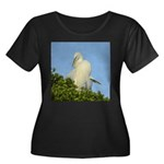 Great Egret Women's Plus Size Scoop Neck Dark T-Sh
