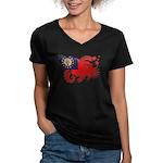 Myanmar Flag Women's V-Neck Dark T-Shirt