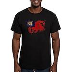 Myanmar Flag Men's Fitted T-Shirt (dark)