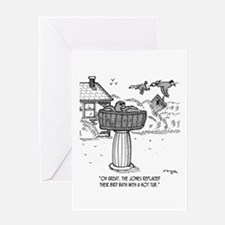 Replace Bird Bath With a Hot Tub Greeting Card