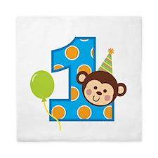 Boy Monkey 1st Birthday Queen Duvet