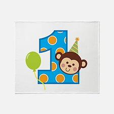 Boy Monkey 1st Birthday Throw Blanket