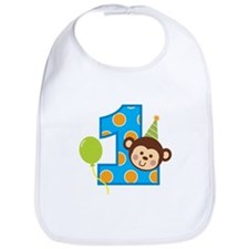 Boy Monkey 1st Birthday Bib