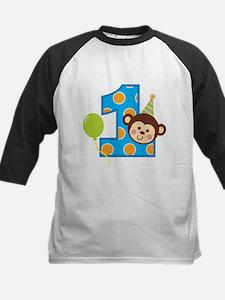 Boy Monkey 1st Birthday Kids Baseball Jersey