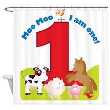 Barnyard 1st Birthday Shower Curtain
