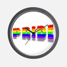 RAINBOW COLORED PRIDE TEXT 3 Wall Clock