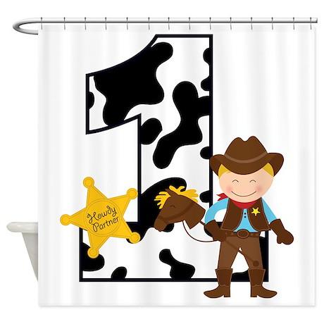 Cowboy 1st Birthday Shower Curtain
